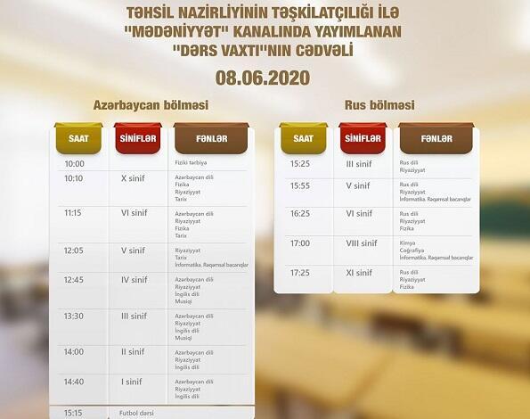 """""""Dərs vaxtı""""nın iyunun 8-nə olan cədvəli açıqlandı"""