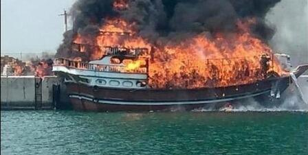 7 ships on fire at the Iranian port -