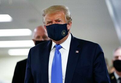 Donald Trump finally wears mask in public -