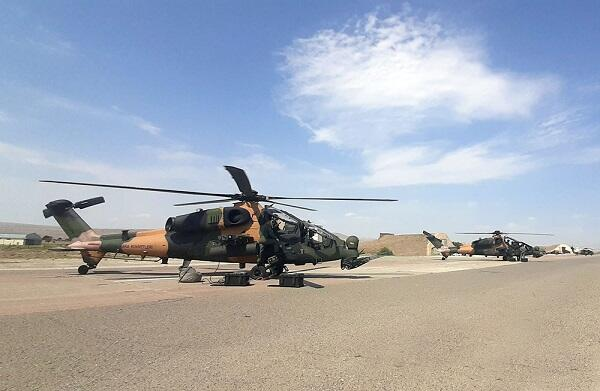 Combat helicopters were involved in the training -