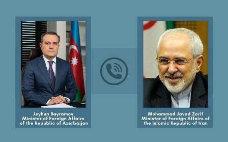 Jeyhun Bayramov holds online meeting with Javad Zarif