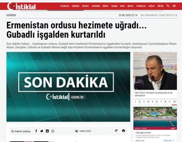 Türkiyə mediası: Azərbaycan Ordusu şərəfli tarix yazır