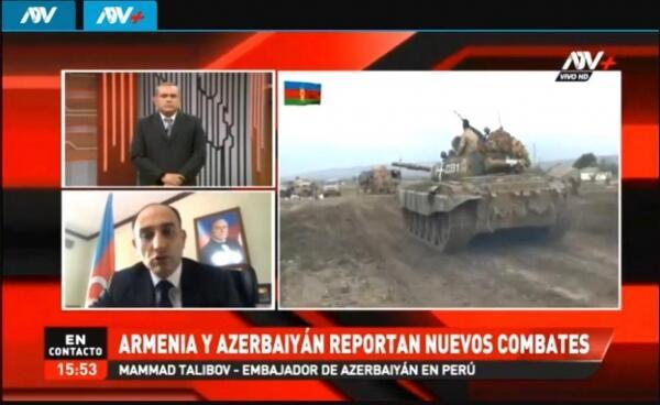 Ermənistanın müharibə cinayətləri Peru televiziyasında