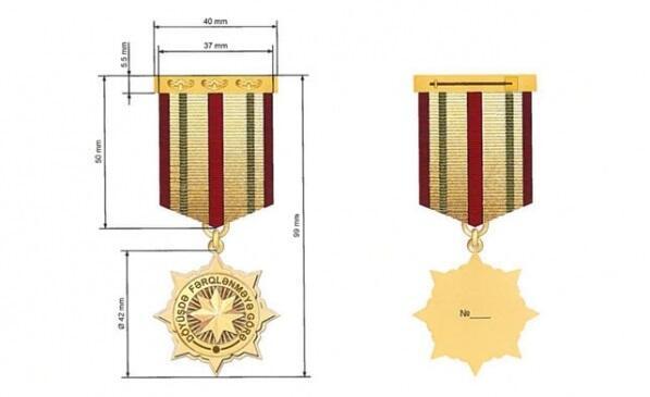 """""""Döyüşdə fərqlənməyə görə"""" medalının ölçüləri"""