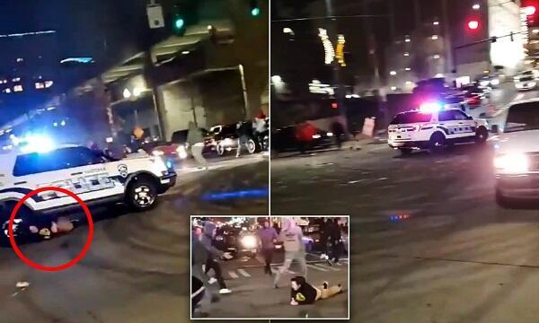 ABŞ-da küçə yarışı: polis maşını piyadanı vurdu - Video