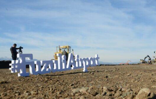 Diplomatlar Füzuli Hava Limanının tikinti işlərinə baxdı