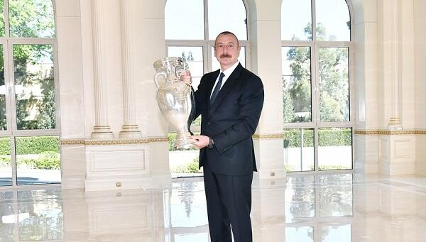 The EURO 2020 trophy was presented to Ilham Aliyev