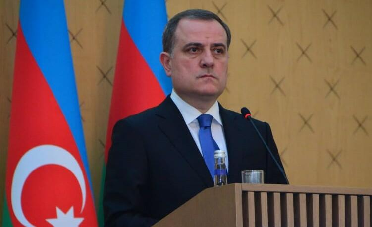 Jeyhun Bayramov talks with his Tajik counterpart
