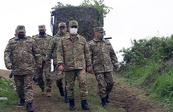 Zakir Hasanov at a military unit in Karabakh -