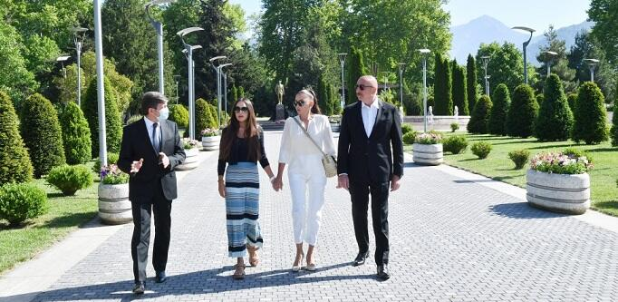 Azerbaijani president, first lady in Gabala district -