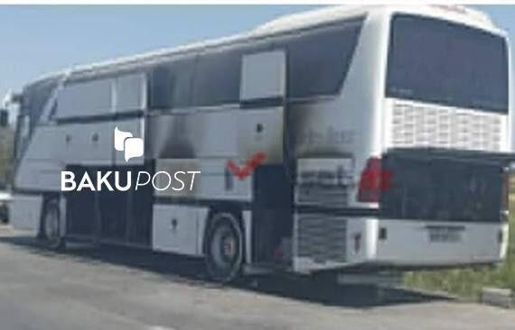 Qubaya şagirdləri aparan avtobus yandı - Foto