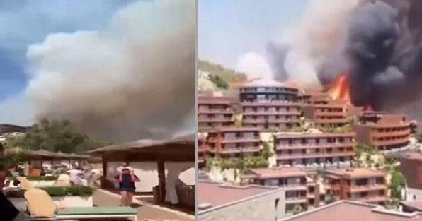 Türkiyədə yanğının otel ərazisinə çatma anı - Video