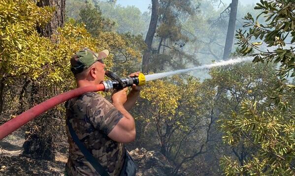 Azerbaijani firefighters in the fire zone in Turkey -