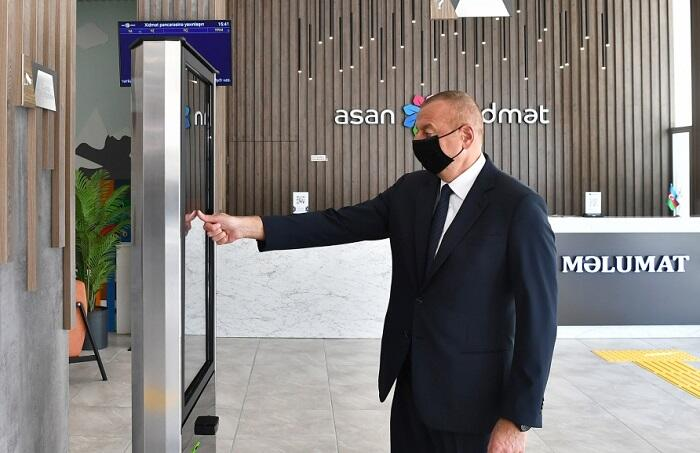 Ilham Aliyev at the opening of the ASAN Service Center