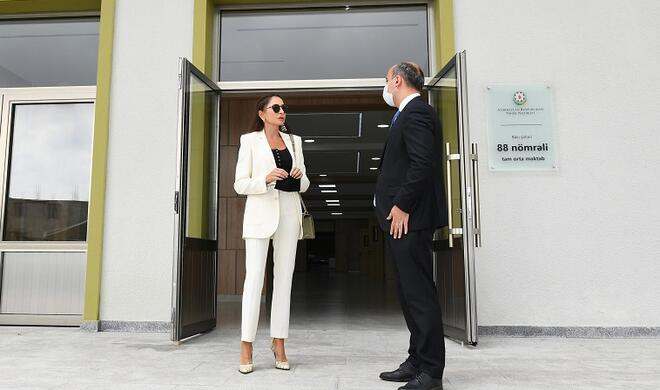 Mehriban Aliyeva at the newly reconstructed school -