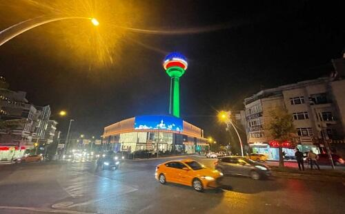 Ankara Tower is decorated with our flag -