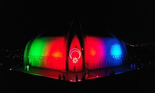 Pakistan Monument was also illuminated with our flag