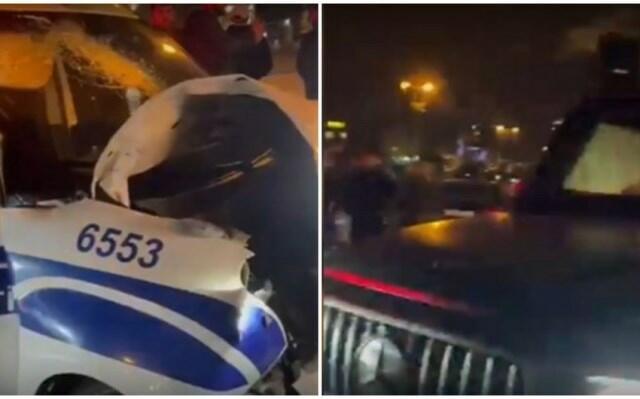 Bakıda polis qəzaya düşdü - Video